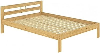 Erst-Holz Lit Adulte en pin Massif Naturel 140x200 Joli tête de lit, avec sommier à Lattes en Bois 60.64-14