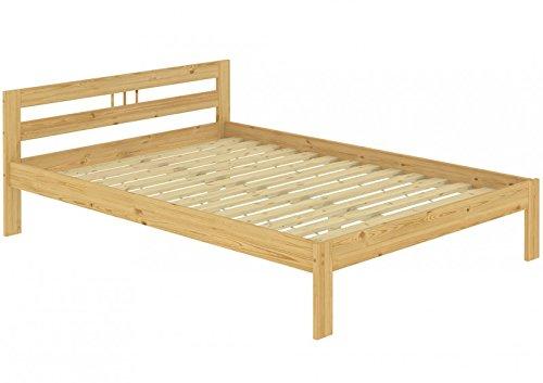 Erst-Holz® Doppelbett Kieferbett Natur 140x200 Massivholz Futonbett Französisches Bett Rollrost 60.64-14