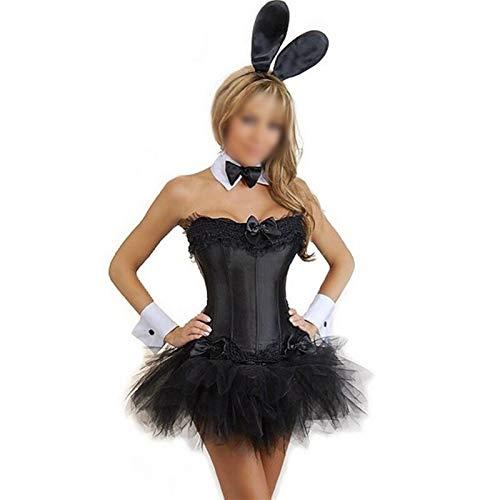 MAXIAOTONG Conejo Atractivo de Las Mujeres del Conejito del Smoking Traje del corsé niña Cosplay Uniforme de del Traje de Cosplay (Color : Negro, Size : L)