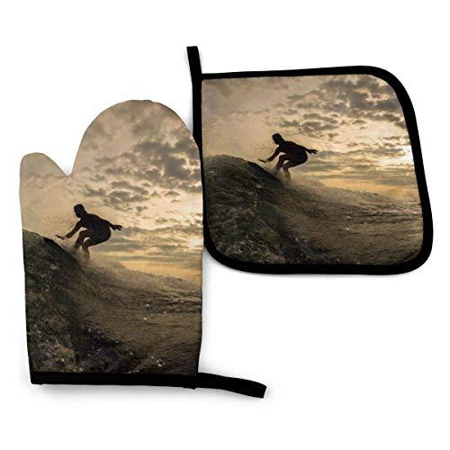 N\A Hombre montado en una Tabla de Surf, Guantes de Horno y Porta ollas con Resistencia al Calor para Hornear, cocinar Barbacoa