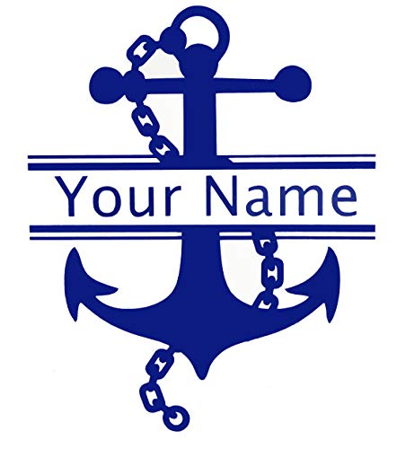 Custom Initial Monogram Name Vinyl Decal Bumper Sticker, for Tumblers, Laptops, Car Windows - Personalized Letter Chained Nautical Anchor Design