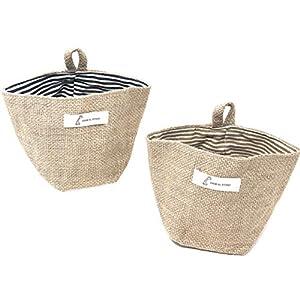 Rusoji 2 Pcs Mini Convenient Hanging Cotton Linen Small Storage Decor Bin Organizer Collapsible Basket Bag for Home Wall Door Closet