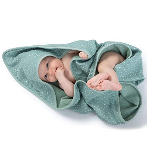 Urban Kanga Baby-Badetuch mit Kapuze Doppelseitiges Kapuzentuch 100% Baumwolle Musselin (Grüne Punkte), 75 x 75 cm