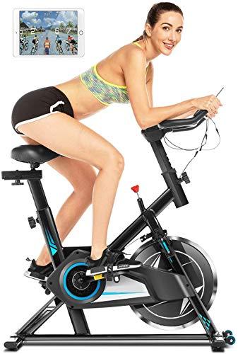 Heimtrainer Fahrrad 150 kg belastbar,Indoor Cycling Fitnessbike,Unendlicher Widerstand,LCD-Monitor,Herzfrequenz Sensorleiste, Telefonhalter, leisem Cardio-Training im Fitnessstudio (Black blue)
