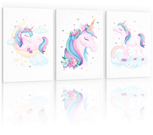Decoración de dormitorio de unicornio para niñas, decoración de unicornio para habitación de niñas, decoración de pared de unicornio, decoración de habitación de unicornio para dormitorio de niñas, arte de pared de unicornio, póster de unicornio, decoración de habitación de unicornio, enmarcado, 11.8 x 15.7in.