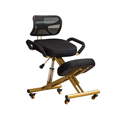 YGU Ergonomic Knee Chair Office Chair Adjustable Stool, with Metal Frame Handle Backrest Chair Wheel Knee Chairs Computer Chair