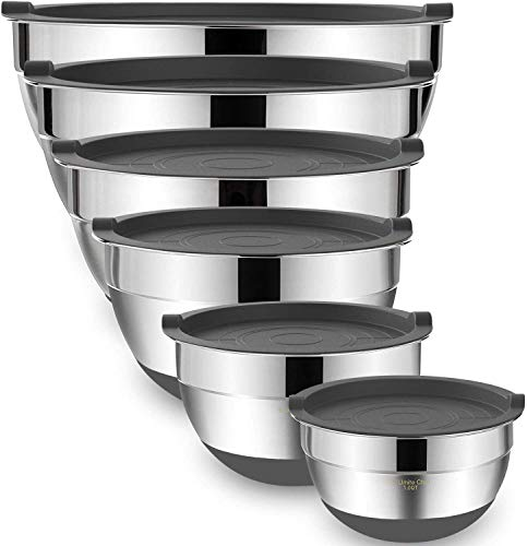 Mixing Bowls with Airtight Lids, 6-Piece Stainless Steel Metal Bowls by Umite Chef, Measurement Marks Non-Slip Bottoms Size 7, 3.5, 2.5, 2.0,1.5, 1QT, Great for Mixing & Serving (Gray)