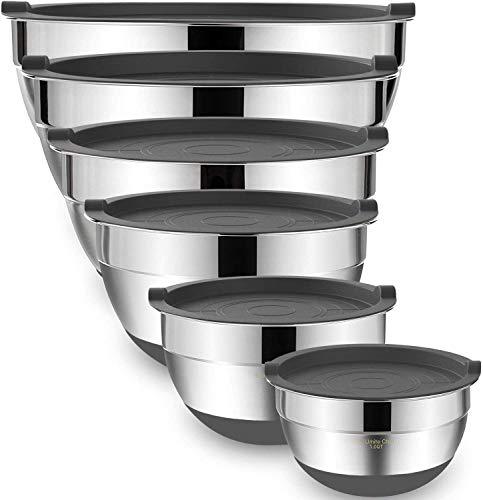 Umiten Rührschüsseln mit luftdichten Deckeln, 6-teiliger Edelstahl-Metallschalen-Chef, Messmarken zerfeste Qualitätsgröße 7, 3,5, 2,5, 2,0,1,5, 1QT, ideal zum Mischen und Servieren (Grau)