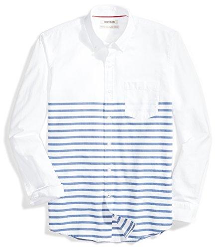 Goodthreads Marca Amazon Camisa Oxford de Manga Larga para Hombre, diseño de Rayas, Color Blanco y Azul, XXL