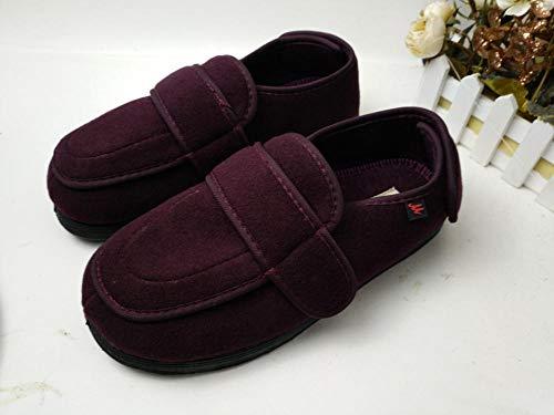 Botas ortopedicas,Zapatos para pies hinchados Zapatos con Velcro, Pulgar en valgo, Empeine Alto, Adecuado para Personas de Mediana Edad y Ancianos-Vino Rojo_35