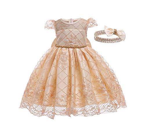 Susanlife LOKKSI - Vestido de encaje para niña con flores, vestido de princesa, vestido de fiesta para niños, boda, Navidad, vestido de baile, para niñas y bebés