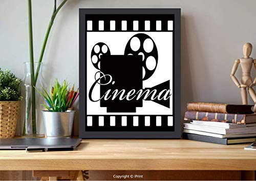 №00884 Modern Wall Decor,Framed Wall Art,Theater, Monochrome Cinema Projector Inside A Strip Frame Abstract Geometric Pattern, Black White, Best for Gifts