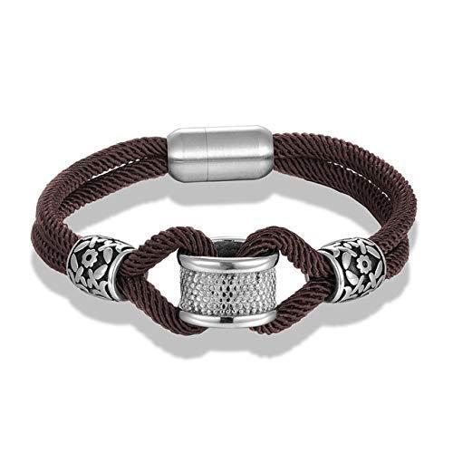 RJGOPL Classic Navy Style Seil Infinity Charm Armbänder Frauen Männer Edelstahl Accessoires Armband Fashion Lover Schmuck Großhandel 21cm Kaffee