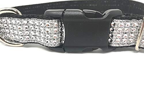 Big Pup Pet Fashion Black and Silver Rhinestone and Glitter Fancy Dog Collar for Girls, Medium