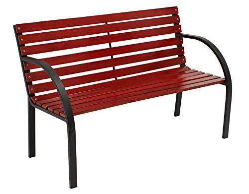 DEGAMO tuinbank BASEL 2-zits, metalen frame, zwart, dikke hardhout, mahoniekleuren