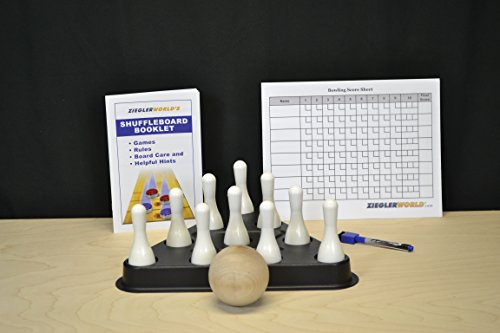 Table Shuffleboard Bowling White Pins - Pinsetter - Booklet - Score Chart & Wood Ball