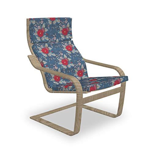 ABAKUHAUS Renaissance Poäng Sessel Polster, Rokoko Antik Wachstum, Sitzkissen mit Stuhlkissen mit Hakenschlaufe und Reißverschluss, Dark Blue Vermilion
