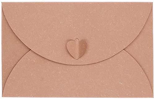 DIELUNY Packung mit 20 Kraftpapierumschlägen Herzverschluss Design Weihnachtsgeburtstag Hochzeitsfeier Kartenhalter-Beige mit Pearl Power
