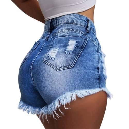 Pantalones Cortos de Mezclilla Sexy para Mujer, Ropa de Calle, Tendencia de Moda, Cintura Media, Dobladillo Crudo Lavado, Jean Desgastado Deshilachado XL