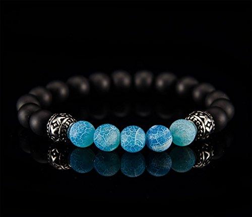 Herren Damen Armband Halbedelstein Blau Onyx Achat Edelstahl Elemente schwarz weiß Mode Fashion Handmade
