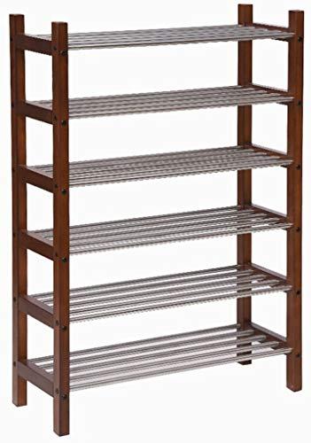 Wddwarmhome Zapatero de 4/6 niveles para ahorrar espacio, tubo de madera de acero inoxidable, montaje fácil, multifuncional, moderno, color retro (tamaño : 6 niveles)