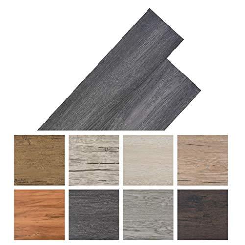 Galapara PVC Vinyl-Bodenbelag Holzoptik selbstklebend   Schiffsboden Buche   91,5 x 15,2 cm, 5,02 m²   Wasserfest, Schwer Entflammbar, Schimmelbeständig   8 Dekors wählbar - Schwarz und Weiß