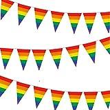 Whaline 30ft Rainbow Banderín Banner, Bandera del Orgullo Gay, Colorido 30 Piezas...