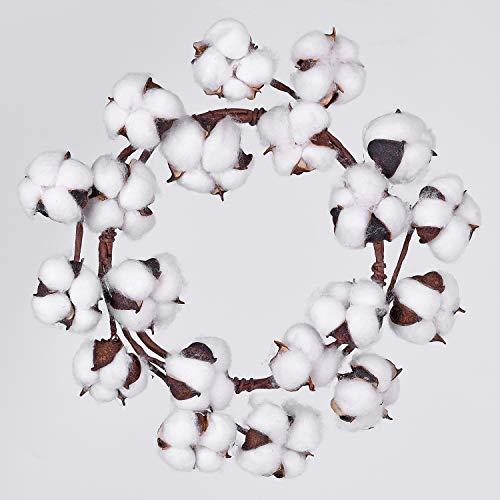 Lvydec Mini-Sized Cotton Wreath Decor - 10' Adjustable Cotton Stems Wreath with Full Cotton Bolls for Farmhouse Decor Front Door Wall Wedding Centerpiece