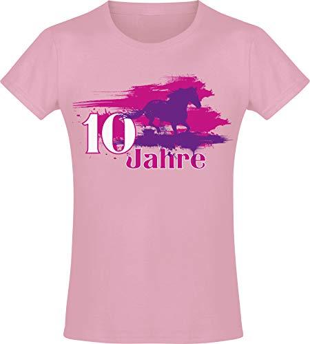Mein Geburtstagspferd 10 Jahre -Mädchen T-Shirt - Jahrgang 2010 - Geburtstag-s Shirt Pferd - Kinder - Geschenk-Idee - Geburtstag - Reiten Pony - Horse-Girl - Pink Rosa - Niedlich (164)