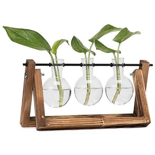 Suading Jarrón de sobremesa con soporte de madera pura retro y soporte giratorio de metal, adecuado para decoración de plantas, hogar, jardín