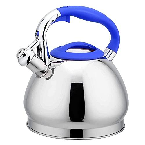 FZYE Novedades Hervidor de té de Gran Capacidad de 3,0 L, hervidor de té para el hogar, Cocina de inducción, hervidor eléctrico con Silbato de Acero Inoxidable 304 y Gas