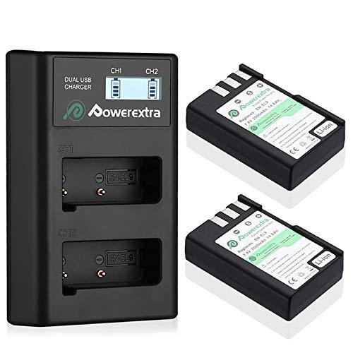 Powerextra 2 baterías EN-EL9 y cargador con pantalla LCD compatible con cámaras Nikon D40 D40x D60 D3000 D5000