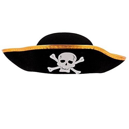 SODIAL(R) Gorra Sombrero del cubo del pirata patron de craneo negro disfrazado unisex