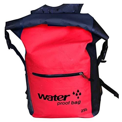 Baijiaye Bolsa estanca Impermeable Bolsas Secas Impermeable Seca PVC para Playa y Deportes al Aire Rafting Kayak Senderismo Canotaje Esquí Pesca Escalada Mochila Rojo 25L
