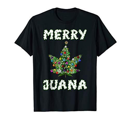 Marijuana Christmas Tree T-Shirt Pot Weed Leaf THC Gift Tee