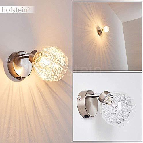Wandlampe Iskuras, Wandleuchte aus Metall in Nickel-matt, 1-flammig mit halbrundem Leuchtenkopf aus Glas, 1 x G9 max. 40 Watt, der Lampenschirm ist dreh- und schwenkbar