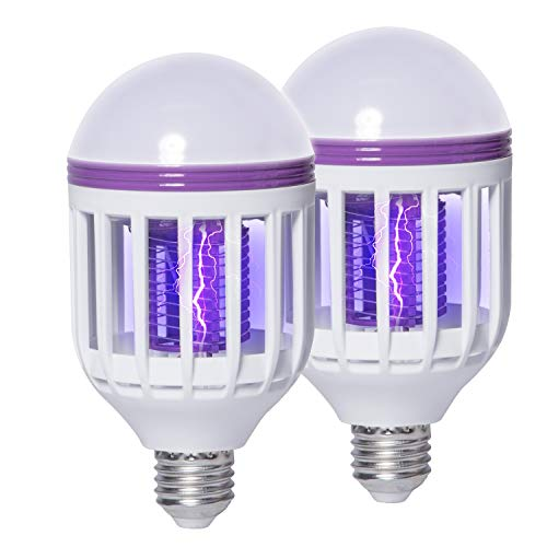 2 Pack Bug Zapper Light Bulbs, 2 in 1 Mosquito Killer Lamp, UV LED Mosquito Killer Bulb for Outdoor and Indoor