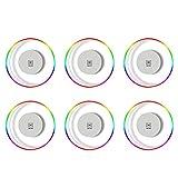 ANAJOY Juego de 6 posavasos de acrílico transparente con 3 modos de iluminación LED, para fiestas, bodas, bares, Navidad (transparente)