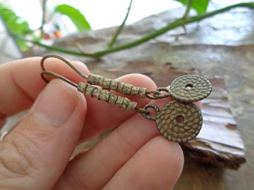 PENDIENTES ESPIRAL CERÁMICOS DE BRONCE VERDE MARRON  pendientes de cerámica hechos a mano de naturaleza bronce