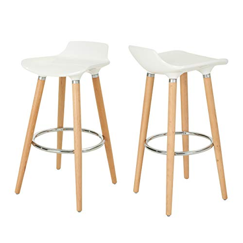 Christopher Knight Home 307010  Stone Bar Stools-Plastic Tractor Beechwood Legs-White and Natural Finish with Chrome-Set of 2-28.5