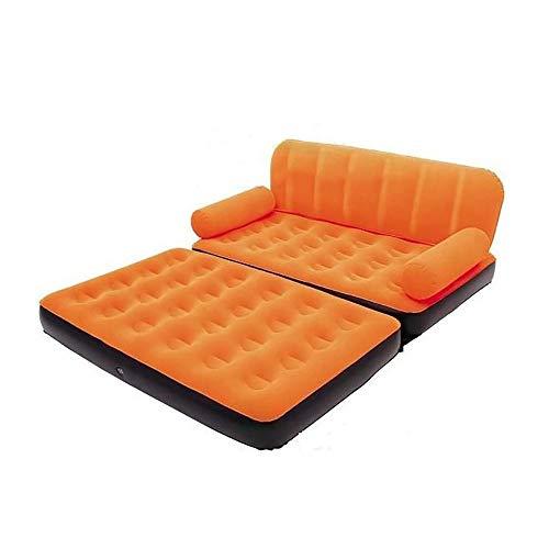 ZLZL 5 In 1 Opvouwbare Opblaasbare Multi Functie Tweepersoons Luchtbed Sofa Stoel Ligstoel Bed Matrasbed Met Luchtpomp (5 In 1 Slaapbank Air Bed Couch) ORANJE