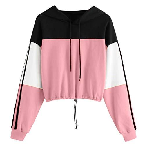 99AMZ Damen Patchwork Hoodie Mädchen Kapuzenpulli Briefdruck Bauchfrei Pullover Oberteile Kurz Sport Crop Tops Sweater Sweatshirt Sweatjacke (Rosa, S)