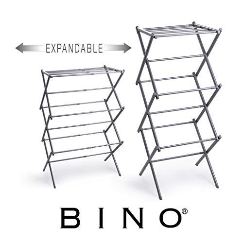 BINO - Tendedero plegable plegable de 3 niveles, color plateado