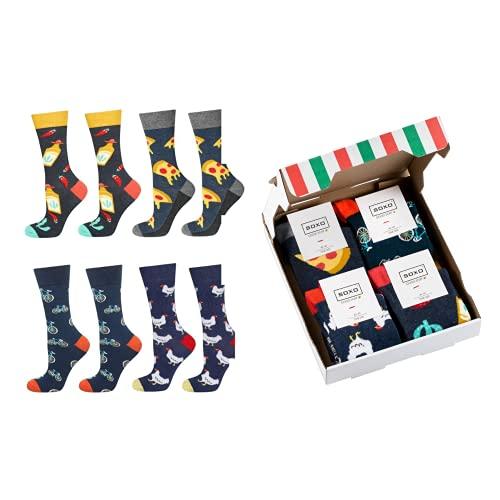 soxo Chaussettes pour homme Colorées, Pizza set | 6 Paires | Pointure 40-45 EU | Chaussette Fantaisie à Motif de Pizza pour les hommes | Cadeau Amusant pour les Fêtes, emballé