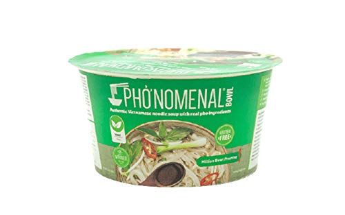 Pho'nomenal Bowl Instant Pho Noodles Gluten Free Low Sodium Vietnamese Vegetable Soup No MSG Authentic Family Recipe Non GMO No Soy (6 Bowl Pack)