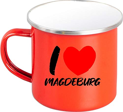 Shirtinstyle Emaille Kaffeepott Tasse I Love Magdeburg, Kaffeetasse Becher Retro Camping, Farbe Rot