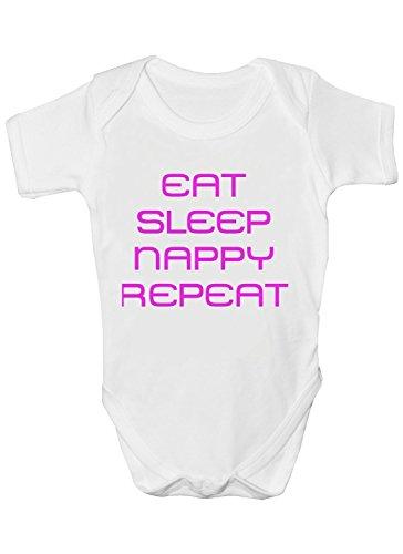 Eat Sleep Couche Repeat Funny Débardeur Body pour bébé fille – Naissance