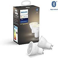 Philips Hue White Ambiance Zestaw, 2x Inteligentny reflektor punktowy LED E27 5,2W GU10, możliwość przyciemniania,...