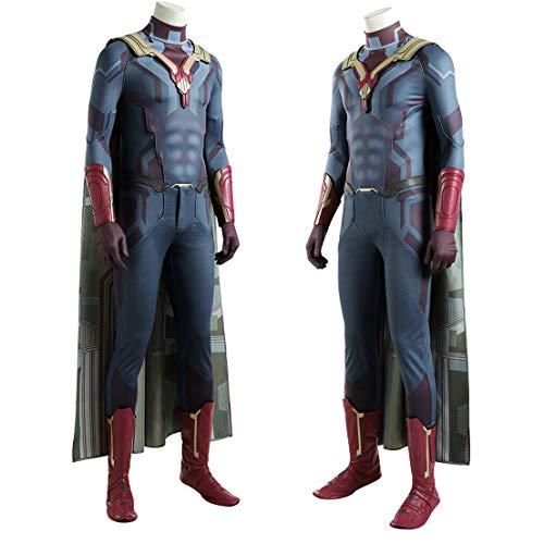 MODRYER Superhero Movie Costume Cosplay Vision Onesies Attire Halloween Party Tuta Bambini Performance Body Props Personalizzazione,Man/S/168~172cm