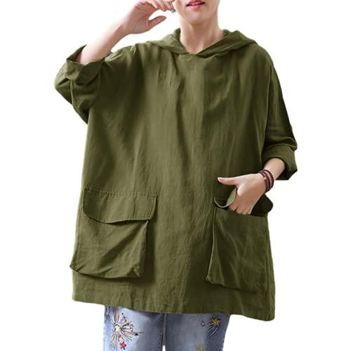 Señoras Retro con Capucha Top de Manga Larga Suelta de Gran tamaño Cómodo Bolsillos de Costura de Moda Camisa de otoño e Invierno 5XL